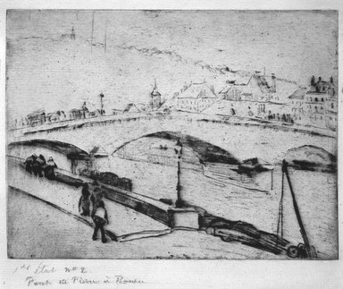 Camille Jacob Pissarro (French, born Danish West Indies, 1830-1903). Stone Bridge, Rouen (Pont de Pierre, Rouen), 1883-1884. Soft-ground etching on medium heavy laid Arches paper, 5 7/8 x 7 13/16 in. (15 x 19.8 cm). Brooklyn Museum, A . Augustus Healy Fund and Carll H. de Silver Fund, 85.40.2