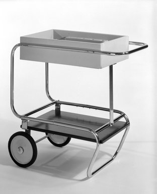 Gilbert Rohde (American, 1894-1944). Beverage Cart, ca. 1933. Chrome-plated steel, painted wood, cork, 33 x 33 3/4 x 18 3/4 in. (83.8 x 85.7 x 47.6 cm). Brooklyn Museum, H. Randolph Lever Fund, 85.77. Creative Commons-BY