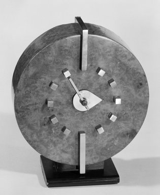 Gilbert Rohde (American, 1894-1944). Clock, ca. 1935. Burled veneer over maple (?), metal, 7 x 6 x 2 3/4 in. (17.8 x 15.2 x 7 cm). Brooklyn Museum, H. Randolph Lever Fund, 85.78.1. Creative Commons-BY
