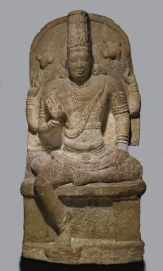Seated Vishnu, 8th-9th Century. Granite, 60 x 29 x 12 in., 900 lb. (152.4 x 73.7 x 30.5 cm, 408.24kg). Brooklyn Museum, Gift of Alice Boney, 86.133. Creative Commons-BY