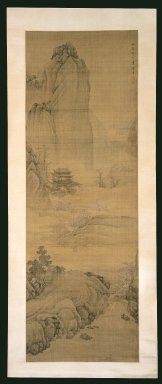 Chen Zhuo (Chinese, active mid-late 17th century). Pavilion In Spring Mountains, Winter 1676. Ink and light color on silk, Image: 58 1/8 x 20 in. (147.6 x 50.8 cm). Brooklyn Museum, Gift of Dr. and Mrs. Robert Feinberg, 86.134.2