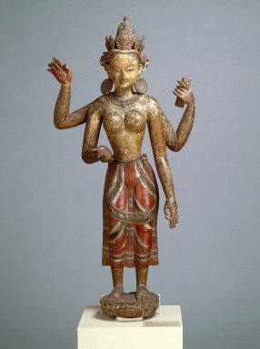 Vasudhara, 16th century. Polychromed wood, 53 3/4 x 24 x 15 1/2 in. (136.5 x 61 x 39.4 cm). Brooklyn Museum, Gift of Dr. Bertram H. Schaffner, 86.137. Creative Commons-BY