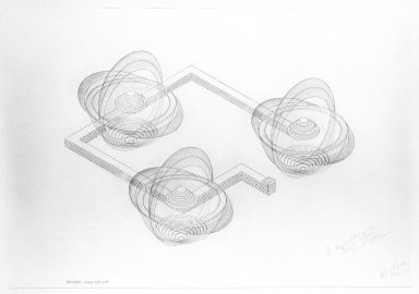 Alice Aycock (American, born 1946). A Representation on the Second World:  Plan, Isometric and Sections, 1984. Watercolor, graphite and chalk on paper, each section: 27 3/4 x 39 1/2 in. (70.5 x 100.3 cm). Brooklyn Museum, Anonymous gift, 86.151.1a-c. © Alice Aycock