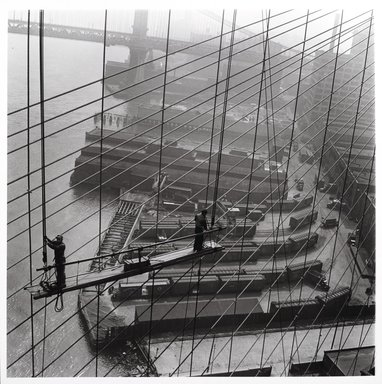 Arthur Leipzig (American, 1918-2014). Brooklyn Bridge, 1946. Gelatin silver photograph, Sheet: 14 1/4 x 14 in. (36.2 x 35.6 cm). Brooklyn Museum, Gift of the artist, 86.152.17. © Arthur Leipzig