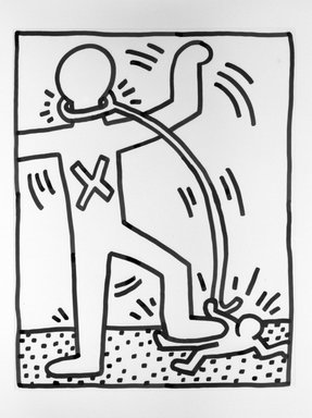 Keith Haring (American, 1958-1990). Domination Through Servitude, 1984. Sumi ink on paper, 23 x 29 in. (58.4 x 73.7 cm). Brooklyn Museum, Gift of Estelle Schwartz, 86.156. © Keith Haring Foundation