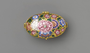 Amulet Box, 19th century. Gold, polychrome enamel, and repoussé decoration, 7/8 x 1 7/8 in., 0.1 lb. (2.3 x 4.8 cm). Brooklyn Museum, Purchased with funds given by Mrs. Carl L. Selden and an anonymous donor in memory of Charles K. Wilkinson and Special Middle Eastern Art Fund, 86.193. Creative Commons-BY