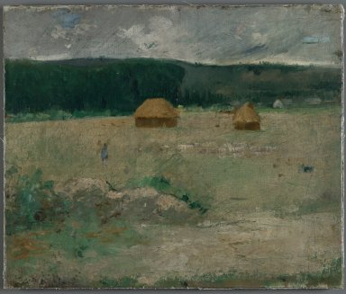 Theodore Wendel (American, 1859-1932). Giverny Farm, ca. 1886. Oil on canvas mounted on woodboard, 14 15/16 x 17 15/16 in. (38 x 45.5 cm). Brooklyn Museum, Gift of Mr. and Mrs. John I. H. Baur, 86.194