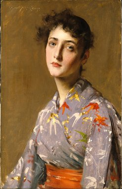 William Merritt Chase (American, 1849-1916). Girl in a Japanese Costume, ca. 1890. Oil on canvas, 24 5/8 x 15 11/16 in. (62.5 x 39.8 cm). Brooklyn Museum, Gift of Isabella S. Kurtz in memory of Charles M. Kurtz, 86.197.2