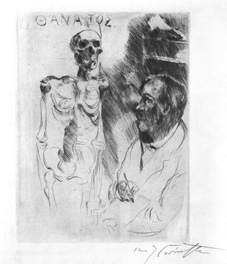 Lovis Corinth (German, 1858-1925). The Artist and Death I (Der Kunstler und der Tod I), 1916. Etching and drypoint on laid paper, Image (Plate): 10 1/2 x 7 15/16 in. (26.7 x 20.2 cm). Brooklyn Museum, Gift of Dr. Bertram H. Schaffner, 86.216