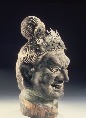 Head of a Guardian, 13th century. Hinoki wood with lacquer on cloth, pigment, rock crystal, metal, 22 1/16 x 10 1/4 x 13 15/16 (56.0 x 26.0 x 35.5 cm). Brooklyn Museum, Gift of Mr. and Mrs. Alastair B. Martin, the Guennol Collection, 86.21. Creative Commons-BY