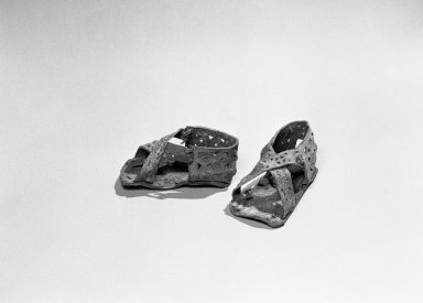 Paracas. Pair of Small Sandals, 300-100 B.C.E. Leather, llama skin, 2 x 2 x 4 in. (5.1 x 5.1 x 10.2 cm). Brooklyn Museum, Gift of the Ernest Erickson Foundation, Inc., 86.224.103a-b. Creative Commons-BY