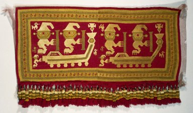 Chimú. Tapestry Panel, 1100-1470. Cotton, camelid fiber, 26 x 43 in. (66 x 109.2 cm). Brooklyn Museum, Gift of the Ernest Erickson Foundation, Inc., 86.224.136. Creative Commons-BY