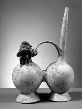 Chancay. Whistling Vessel with Figure of a Monkey, 1000 - 1400. Clay, slips, 11 1/4 x 7 1/2 x 3 1/2 in.  (28.6 x 19.1 x 8.9 cm). Brooklyn Museum, Gift of the Ernest Erickson Foundation, Inc., 86.224.141. Creative Commons-BY