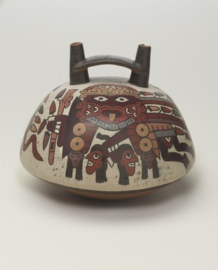 Nasca. Double-Spout Vessel, 325-440. Ceramic, pigments, 6 x 7 x 7 in. (15.2 x 17.8 x 17.8 cm). Brooklyn Museum, Gift of the Ernest Erickson Foundation, Inc., 86.224.15. Creative Commons-BY