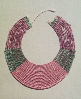 Chimú. Neckpiece, Fragment, 1000-1532. Spondylous and clam shell beads, turquoise beads, cotton., 7 7/8 x 7 1/2in. (20 x 19cm). Brooklyn Museum, Gift of the Ernest Erickson Foundation, Inc., 86.224.181. Creative Commons-BY