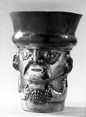 Sican. Face Beaker, C.E. 850 - 1050. Hammered Silver, 10 7/8 x 8 1/2 in. Brooklyn Museum, Gift of the Ernest Erickson Foundation, Inc., 86.224.189. Creative Commons-BY