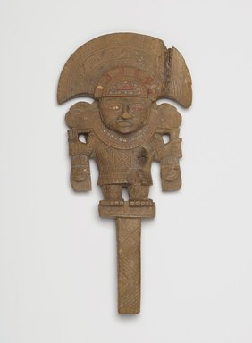 Chimú. Mirror Handle, ca. 850-1470. Wood, gold, turquoise, red pigment, 11 5/8 x 5 9/16 in.  (29.5 x 14.1 cm). Brooklyn Museum, Gift of the Ernest Erickson Foundation, Inc., 86.224.4. Creative Commons-BY