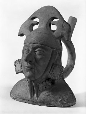 Moche. Portrait Head Vessel, C.E. 200-700. Ceramic, slip, 10 1/16 x 7 1/16 x 8 11/16 in. Brooklyn Museum, Gift of the Ernest Erickson Foundation, Inc., 86.224.80. Creative Commons-BY