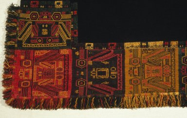 Paracas. Mantle, 100 B.C.E.-100 C.E. Camelid fiber, 110 1/4 x 48 13/16 in. (280 x 124 cm). Brooklyn Museum, Gift of the Ernest Erickson Foundation, Inc., 86.224.90. Creative Commons-BY