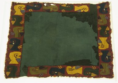 Proto-Nazca, curvilinear. Poncho Fragment or Textile, 200-600. Cotton, camelid fiber, 24 x 21 5/8in. (61 x 55cm). Brooklyn Museum, Gift of the Ernest Erickson Foundation, Inc., 86.224.95. Creative Commons-BY