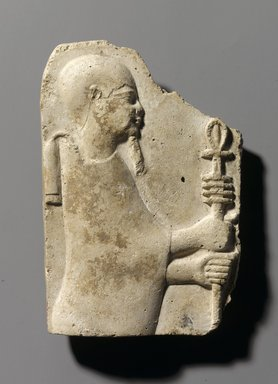 Relief of Ptah Holding Ankh and Djed, 4th-3rd century B.C.E. Stucco, 5 1/4 x 3 5/8 x 7/8 in. (13.4 x 9.2 x 2.3 cm). Brooklyn Museum, Gift of the Ernest Erickson Foundation, Inc., 86.226.17. Creative Commons-BY