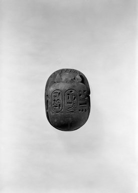 Heart Scarab with Scene of the Goddess Ma`at and a Phoenix, ca. 893-868 B.C.E. Frit, traces of gold, 13/16 x 1 3/4 x 2 5/16 in. (2 x 4.4 x 5.9 cm). Brooklyn Museum, Gift of the Ernest Erickson Foundation, Inc., 86.226.22. Creative Commons-BY