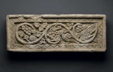 Plant Scroll Enclosing Birds and Grapes, 5th - 6th century C.E. Limestone, 8 11/16 x 20 3/4 x 2 3/8 in. (22 x 52.7 x 6 cm). Brooklyn Museum, Gift of the Ernest Erickson Foundation, Inc., 86.226.27. Creative Commons-BY