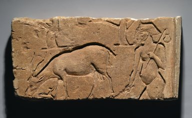 Relief Representation of Goatherd with Goat and Trees, 1350-1333 B.C.E. Limestone, 8 11/16 x 17 1/8 x 2 13/16 in. (22 x 43.5 x 7.2 cm). Brooklyn Museum, Gift of the Ernest Erickson Foundation, Inc., 86.226.30. Creative Commons-BY