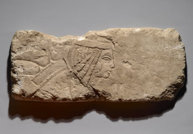Relief of a Woman, ca. 1353-1336 B.C.E. Limestone, 9 1/8 x 21 1/16 x 1 9/16 in. (23.1 x 53.5 x 4 cm). Brooklyn Museum, Gift of the Ernest Erickson Foundation, Inc., 86.226.33. Creative Commons-BY