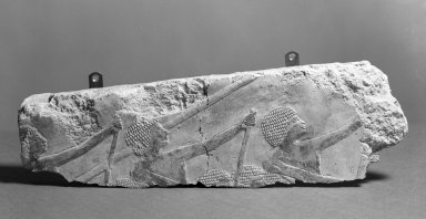 Fragment from a Relief of Men Rowing, ca. 1479-1457 B.C.E. Limestone, paint, 3 15/16 x 13 1/8 in. (10 x 33.3 cm). Brooklyn Museum, Gift of the Ernest Erickson Foundation, Inc., 86.226.7. Creative Commons-BY