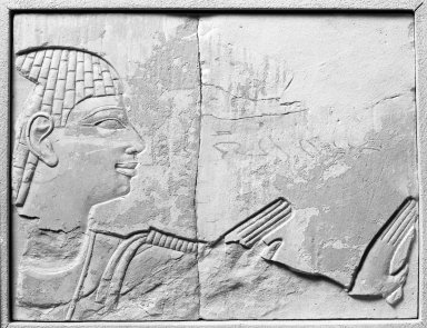 Egyptian. Fragment from a Relief of a Worshipper, ca. 670-650 B.C.E. Limestone, paint, 5 x 6 9/16 in. (12.7 x 16.6 cm). Brooklyn Museum, Gift of the Ernest Erickson Foundation, Inc., 86.226.9. Creative Commons-BY