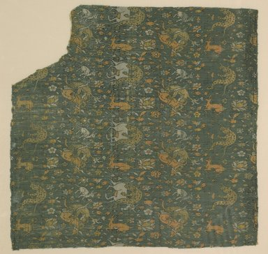 Textile Fragment from a Garment with a Motif of Animals in Combat