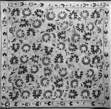 Cushion Cover, late 18th century. Linen, embroidered, 42 1/2 x 41 1/4in. (108 x 104.8cm). Brooklyn Museum, Gift of the Ernest Erickson Foundation, Inc., 86.227.112. Creative Commons-BY