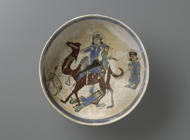 Bowl Depicting Bahram Gur and Azada, late 12th - early 13th century. Ceramic, mina'i (enameled) or haft rangi (seven colors) ware; fritware, in-glaze painted in blue, green, and brown on an opaque white glaze, overglaze painted in black, height x diameter: 4 x 8 5/16 in. (10.2 x 21.1 cm). Brooklyn Museum, Gift of the Ernest Erickson Foundation, Inc., 86.227.11. Creative Commons-BY