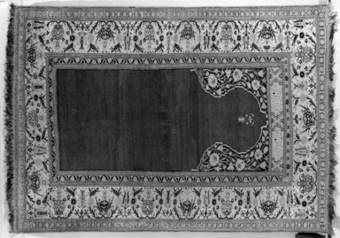 Prayer Rug, 18th century. Wool warp, weft and pile, Old Dims: 72 x 51 in. (182.9 x 129.5 cm). Brooklyn Museum, Gift of the Ernest Erickson Foundation, Inc., 86.227.120. Creative Commons-BY