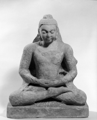 Seated Buddha, late 4th - early 5th century. Tan sandstone, w/o base: 20 7/8 x 17 3/4 in. (53 x 45.1 cm). Brooklyn Museum, Gift of the Ernest Erickson Foundation, Inc., 86.227.134. Creative Commons-BY