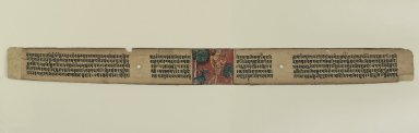 Folio from a Gandavyuha Manuscript, 12th century. Colors on palm leaf, 2 x 21 5/8in. (5.1 x 54.9cm). Brooklyn Museum, Gift of the Ernest Erickson Foundation, Inc., 86.227.137