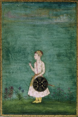 Indian. Portrait of a Prince, late 17th century. Opaque watercolor on paper, sheet: 5 13/16 x 3 15/16 in.  (14.8 x 10.0 cm). Brooklyn Museum, Gift of the Ernest Erickson Foundation, Inc., 86.227.139