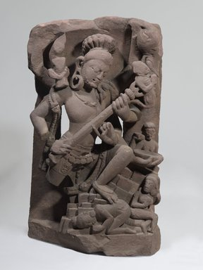 Siva Andhakasura, late 8th century. Red sandstone, 28 3/8 x 16 5/16 x 11 7/16 in., 209.5 lb. (72 x 41.5 x 29 cm, 95.03kg). Brooklyn Museum, Gift of the Ernest Erickson Foundation, Inc., 86.227.145. Creative Commons-BY