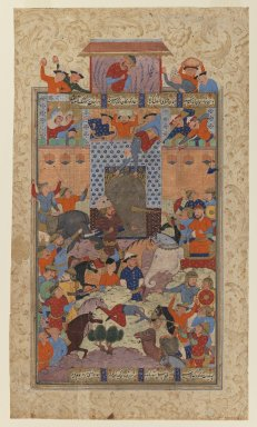 """Folio from a """"Shahnameh"""": The Iranians Capture Afrasiyab's      Fortress, ca. 1580-1590. Ink and opaque watercolor on paper, 14 1/2 x 8 3/4in. (36.8 x 22.2cm). Brooklyn Museum, Gift of the Ernest Erickson Foundation, Inc., 86.227.148"""