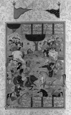 "Folio from a ""Shahnameh"": Rustam Fighting Puladvand Div, ca. 1580-1590. Ink, and opaque watercolors on paper, 14 9/16 x 8 15/16in. (37 x 22.7cm). Brooklyn Museum, Gift of the Ernest Erickson Foundation, Inc., 86.227.149"