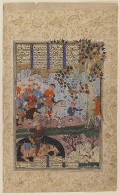 "Folio from a ""Shahnameh"": The Death of Rustam and His Killing   Shaghad, ca. 1580-1590. Ink and opaque watercolor on paper, 14 1/2 x 8 3/4in. (36.8 x 22.2cm). Brooklyn Museum, Gift of the Ernest Erickson Foundation, Inc., 86.227.151"