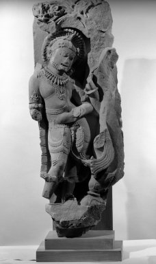 Yama, One of the Dikpalas, 11th-12th century. Tan  Sandstone, 42 1/2 x 16 1/2in. (108 x 41.9cm). Brooklyn Museum, Gift of the Ernest Erickson Foundation, Inc., 86.227.154. Creative Commons-BY