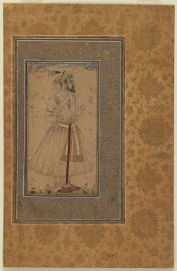 Indian. Portrait of Shah Jahan (possibly), late 17th century. Ink drawing with slight color on paper, mounted on gold-sprinkled border, sheet: 12 x 7 7/8 in.  (30.5 x 20.0 cm). Brooklyn Museum, Gift of the Ernest Erickson Foundation, Inc., 86.227.164