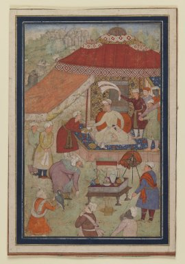 Indian. Tent Encampment, 1580-1595. Opaque watercolor and gold on paper, sheet: 9 3/4 x 6 5/8 in.  (24.8 x 16.8 cm). Brooklyn Museum, Gift of the Ernest Erickson Foundation, Inc., 86.227.165