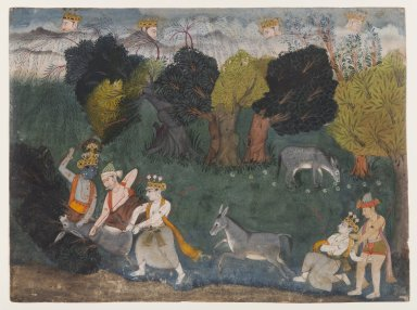 Indian. Balarama Kills the Ass Demon, Page from a Dispersed Bhagavata Purana Series, ca. 1725. Opaque watercolor and silver on paper, sheet: 8 3/16 x 11 in.  (20.8 x 27.9 cm). Brooklyn Museum, Gift of the Ernest Erickson Foundation, Inc., 86.227.166