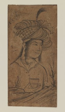 Muhammad 'Ali. Young Man Holding a Cup, 1650-1660. Ink on paper, 4 1/2 x 2 1/4in. (11.4 x 5.7cm). Brooklyn Museum, Gift of the Ernest Erickson Foundation, Inc., 86.227.168