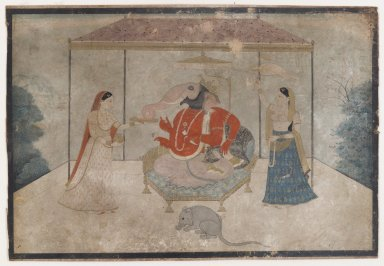 Indian. Ganesha with Two Attendants, ca. 1790-1825. Opaque watercolor and gold on paper, sheet: 6 1/8 x 8 15/16 in.  (15.6 x 22.7 cm). Brooklyn Museum, Gift of the Ernest Erickson Foundation, Inc., 86.227.178