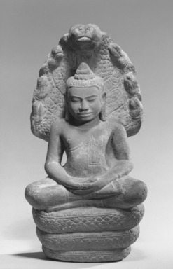 Buddha Sheltered by Mucalinda, 12th century. Gray sandstone, 20 1/2 x 9 7/8 x 7 1/16 in. (52.1 x 25.1 x 18 cm). Brooklyn Museum, Gift of the Ernest Erickson Foundation, Inc., 86.227.37. Creative Commons-BY