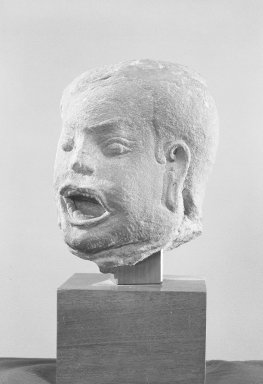 Male Head, late 12th-early 13th century. Gray sandstone, 7 x 5 1/2 x 5 1/2 in. (17.8 x 14 x 14 cm). Brooklyn Museum, Gift of the Ernest Erickson Foundation, Inc., 86.227.39. Creative Commons-BY